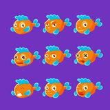 Cute Orange Aquarium Fish Cartoon Character Set Of Different Facial Expressions And Emotions. Emoji Collection With Colorful Friendly Tropical Fish Childish Royalty Free Stock Image