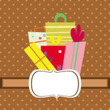 Cute orange background card with presents Stock Photos