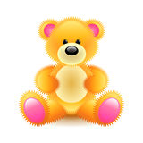 Cute orange bear soft toy isolated on white vector Royalty Free Stock Photography
