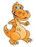 Cute orange cartoon dragon or dinosaur Royalty Free Stock Image