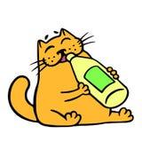 Cute orange cat drinks lemonade. Isolated vector illustration. Stock Photography