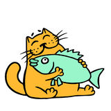Cute orange cat hugging big fish. Vector illustration. Cute orange cat hugging big fish. Funny cartoon cool character. Cheerful pet. Vector illustration Stock Images