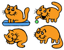 Cute Orange cats emoticons set. Isolated Vector Illustration. Cute Orange cats emoticons set. Funny cartoon cool character. Contour Freehand Digital Drawing Stock Photo