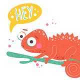 Cute orange chameleon sitting on the green branch and with word hey on white background, vector illustration. Cartoon. Illustration of chameleon stock illustration