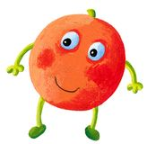 Cute orange with face isolated on white background Royalty Free Stock Images