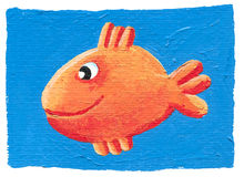 Cute orange fish on the blue background. Acrylic illustration of cute orange fish on the blue background Royalty Free Stock Images