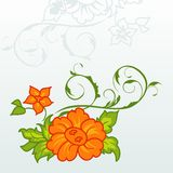 Cute orange flowers with ornament Stock Image