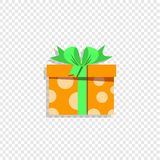 Cute orange gift box wrapped with festive bow isolated on transparent background vector illustration
