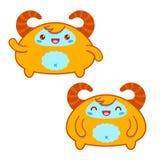 Cute Orange Kawaii Yeti Stock Photography