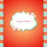 Cute orange and mint happy birthday card Stock Images
