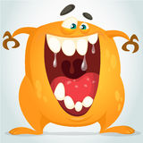 Cute orange monster. Vector character Stock Images
