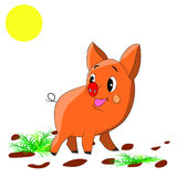 Cute orange piglet, cartoon on white background. Vector Stock Photo