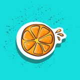 Cute orange slice with juicy drops sticker fashion patch badge Stock Image