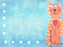 Cute orange stripped cat on a blue grunge background. Cute orange stripped cat. Hand drawing sitting smiling cat on a blue grunge background with white dots Stock Images