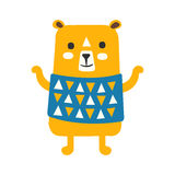 Cute orange teddy bear in blue vest standing. Funny lovely animal colorful cartoon character vector Illustration Royalty Free Stock Photography