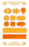 Cute orange vector game user interface Royalty Free Stock Photo