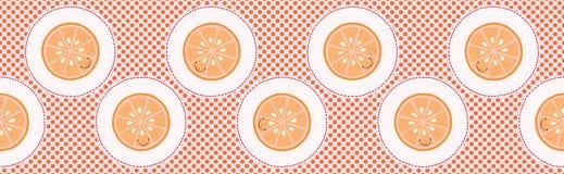 Cute oranges polka dot vector illustration. Seamless repeating border pattern. stock illustration