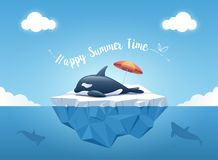 "Cute Orca or the killer whale sleeping on the iceberg with beach umbrella and message ""Happy Summer Time"". Iceberg with above and underwater view. Whales Stock Photos"