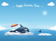 "Orca or killer whale sleeping on the iceberg floating in a blue ocean with a message ""Happy Summer Time"". Vector illustration. Cute Orca or the killer whale Royalty Free Stock Photos"