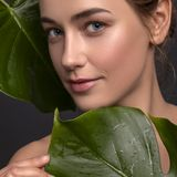 Cute ordinary young woman posing with monstera tropical leafs. Fresh clean skin with flawless texture. Skin care beauty. Cosmetology concept. Space for text royalty free stock photography