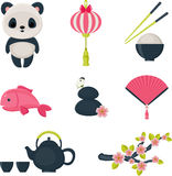 Cute oriental icons set Royalty Free Stock Images