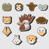 Cute origami animals stickers icon set Royalty Free Stock Photos