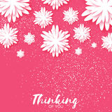 Cute Origami Pink Floral Greeting Card with place for text. Stock Images