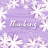Cute Origami Purple Floral Greeting Card with place for text. Stock Photos