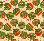 Cute ornament patchwork xmas bubbles seamless pattern. Royalty Free Stock Images