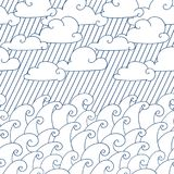 Waves seamless pattern. Vector illustration with sea waves, clouds and rain. royalty free illustration