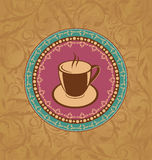 Cute ornate vintage with coffee cup Royalty Free Stock Image