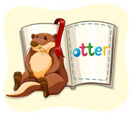 Cute otter and a book. Illustration Royalty Free Stock Photo