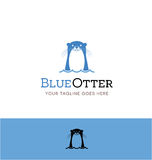Cute otter logo for creative business. Cute blue otter logo for creative business, shop or website Stock Image