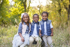 Cute outdoor portrait of three racially diverse children. Kids sitting and smiling with fall colors in the background Royalty Free Stock Photo