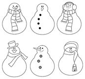 Cute outline snowmans with scarf and hat. Stock Photography
