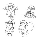 Cute outlined Santa Clauses in doodle style. stock illustration