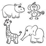 Cute outlined zoo animals collection Royalty Free Stock Photography