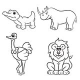 Cute outlined zoo animals collection Royalty Free Stock Photo