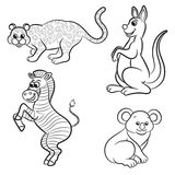 Cute outlined zoo animals collection Stock Image