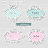 Cute oval frames and signboard. Girly. Cute oval frames and signboard. Scrapbook design elements Stock Images