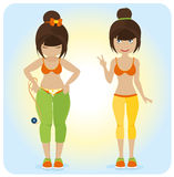 Cute overweight girl. Before and after vector illustration