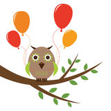 Cute owl. Holding colorful balloons stock illustration