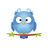 Cute owl. Illustration of a funny character owl sitting on a branch Royalty Free Stock Photography