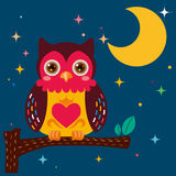 Cute owl against a star night sky stock illustration
