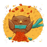 Cute owl with autumn leaves. character owl, autumn Stock Photography