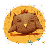 Cute owl with autumn leaves. character owl, autumn Stock Image