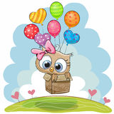 Cute Owl with balloons. Cute Owl in the box is flying on balloons stock illustration