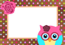 Cute Owl with Bank Label stock illustration