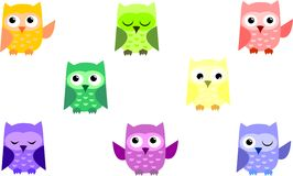 Set cute owl/icon owl/pattern owl/funny vector illustration. Beautiful pattern with funny owls Royalty Free Stock Images