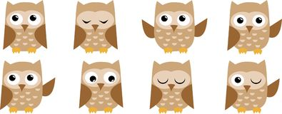 Set cute owl/icon owl/pattern owl/funny vector illustration. Beautiful pattern with funny owls Royalty Free Stock Photo